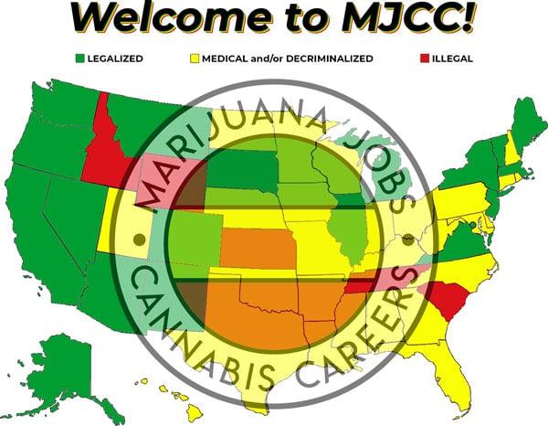 Marijuana Job Career Near Me Cannabis Jobs Careers Hiring Now 420 Hemp Weed CBD Legalized Medical Decriminalized Illegal USA Map