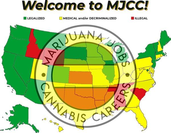Marijuana Jobs Near Me Cannabis Job Hiring Now 420 Careers Hemp Career Weed CBD Legalized Medical Decriminalized Illegal USA Map (2021).